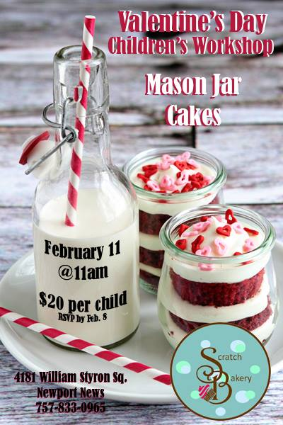 Valentine's Day Children's Workshop - Mason Jar Cakes